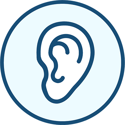 Icon of an ear, representing Hearing.