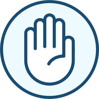 Icon of a hand, representing Touch.