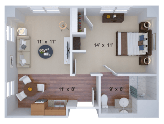 one bedroom housing floor plan