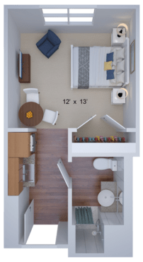studio housing floor plan