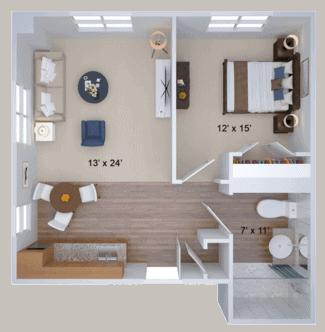 one bedroom housing floor plan