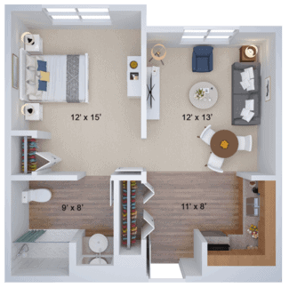 1 bedroom type b housing floor plan