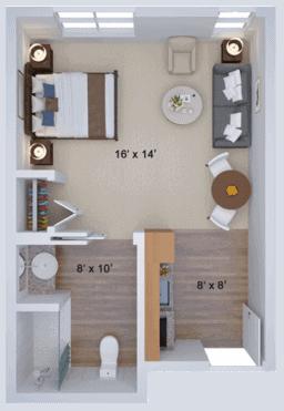 memory care studio housing floor plan