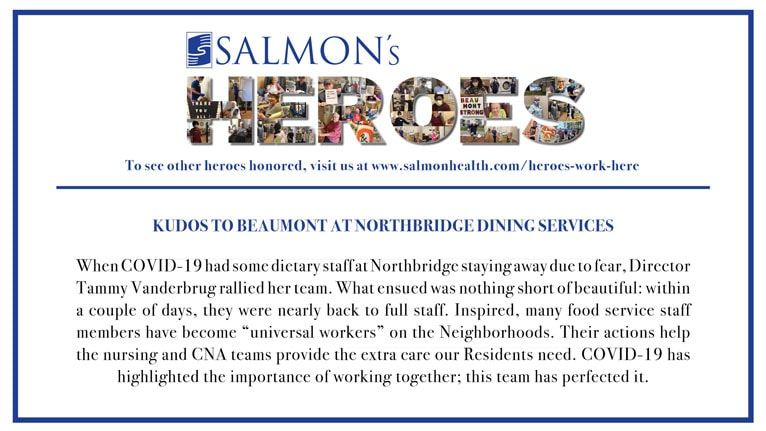 Kudos to Beaumont at Northbridge Dining Services